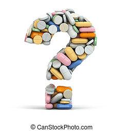 pillerne, idet, question., medicinsk, concept.