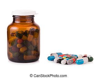 pillerne, kapsler, isoleret, på hvide, baggrund