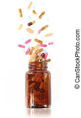 pillerne, komme frem, af, en, lægekunst flaske