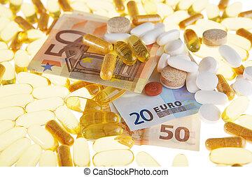 pillerne, og, euro, på, en, hvid baggrund