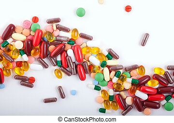 pillerne, tabletter, og, kapsler