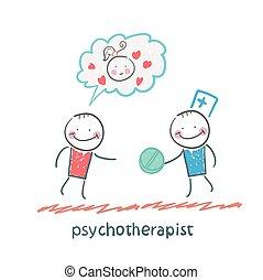 pillola, paziente, psicoterapista, dà