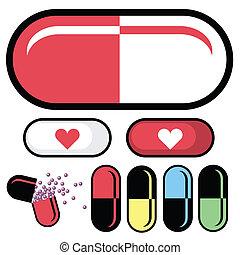 pillola, vettore, farmaceutico
