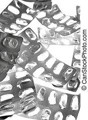 pillole, linguette, vescica, argento, struttura