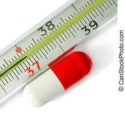 pillole, medico, rosso, termometro