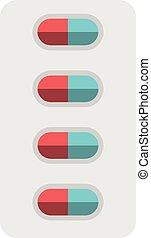 pillole, vescica, pacchetto, isolato