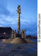 Pillory Twisted Column in Porto by Night - Portugal, Porto,...