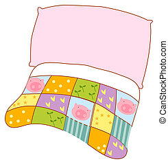 Pillow and quilt - illustration drawing of color pillow and...
