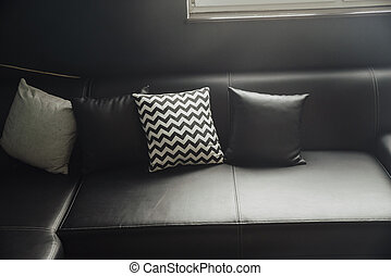 pillow and sofa in black and white