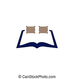 Pillow bed with book logo icon vector
