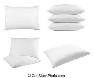 pillow bedding bed sleeping - collection of pillows on white...