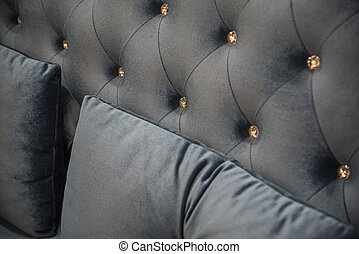 Pillow black color on luxury black bed in bedroom