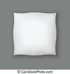 pillow., blanc, carrée, vecteur, vide