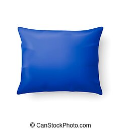 Pillow - Close Up of a Classic Blue Pillow Isolated on White...