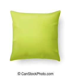 Pillow - Close Up of a Pillow in Lime Color Isolated on...