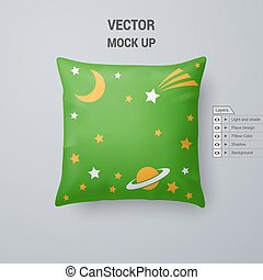 Pillow - Green Pillow with Space Pattern Isolated on White...