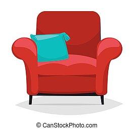 pillow., fauteuil, vecteur, rouges