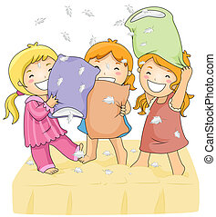Pillow Fight - Illustration of Cute Little Girls Having a...