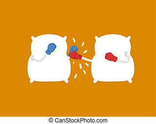 Pillow fight. Strong cushions in boxing gloves. Duel bed linen. Vector illustration
