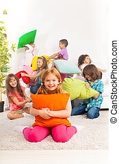 Pillow fight with kids