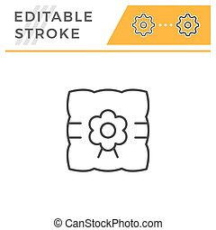 Pillow for wedding ring editable stroke line icon
