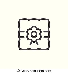 Pillow for wedding ring line icon