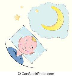 pillow., garçon, peu, dormir
