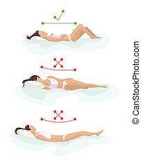 pillow., in pausa, indietro, corpo, sano, materasso, salute...