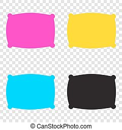 Pillow sign illustration. CMYK icons on transparent background.