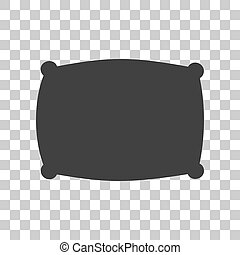Pillow sign illustration. Dark gray icon on transparent background.