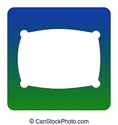Pillow sign illustration. Vector. White icon at green-blue gradient square with rounded corners on white background. Isolated.