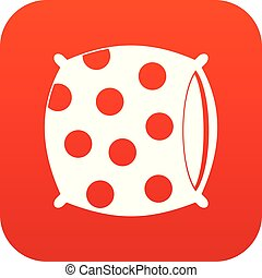 Pillow with dots icon digital red