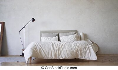 Pillows. Bedroom in the apartment. Loft-style bed. No people.