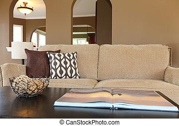 pillows., divano, nero, beige, tavola