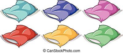 Pillows in six different colors