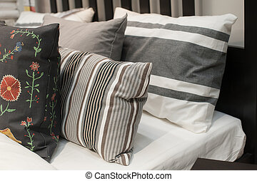 Pillows on the bed in the bedroom