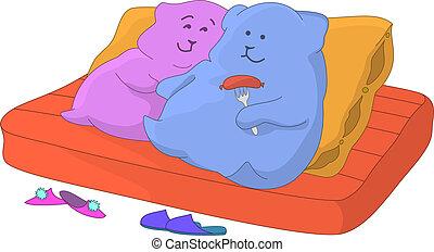 pillows., sofa, familie
