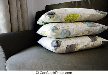 Pillows stacked.