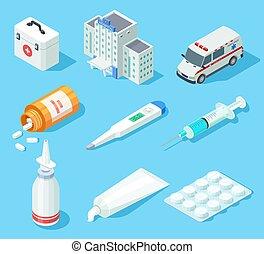pills., здание, изометрический, задавать, автомобиль, медицинская, isolated, kit., аптека, вектор, medicines, скорая помощь, помощь, спрей, оральный, больница, первый