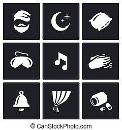pills., セット, 人, 子守り歌, 時計, 残り, 睡眠のマスク, ベクトル, 睡眠, icons., やし, 枕, 夜, カーテン