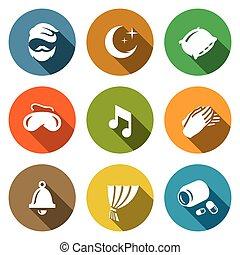 pills., セット, 子守り歌, 時計, 残り, 睡眠のマスク, ベクトル, 睡眠, icons., 夜, やし, 枕, 人, カーテン