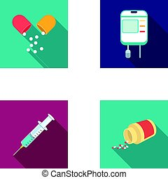 Pills, a syringe, a container of blood.Medicine set collection icons in flat style vector symbol stock illustration web.