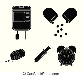 Pills, a syringe, a container of blood.Mtdicine set collection icons in black style vector symbol stock illustration web.