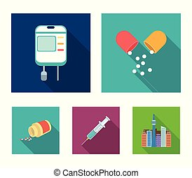 Pills, a syringe, a container of blood.Mtdicine set collection icons in flat style vector symbol stock illustration web.