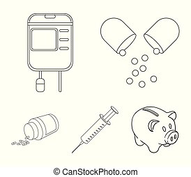 Pills, a syringe, a container of blood.Mtdicine set collection icons in outline style vector symbol stock illustration web.