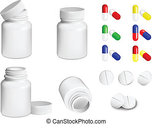 pills and bottle - Bottle for medicines and set of various ...