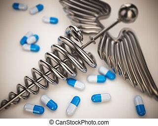 Pills and caduceus pharmacy symbol. - Pills and caduceus...