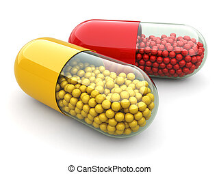 Pills and drugs. Medical concept. - Pills and drugs on white...