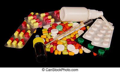 Pills and medicine closeup