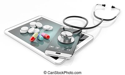 Pills and stethoscope on smartphone and tablet, isolated on...